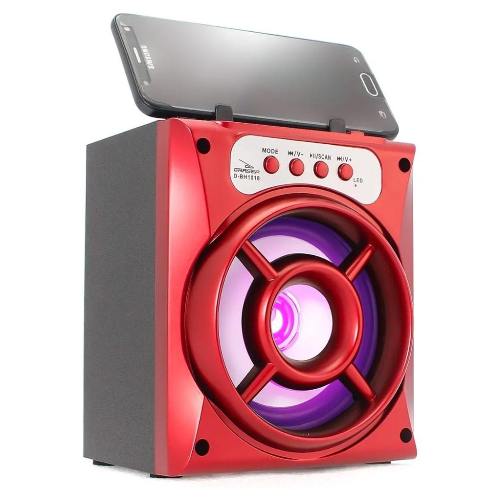 Caixa Bluetooth Grasep D-BH1018 10w com Fm/Sd/Usb Vermelha