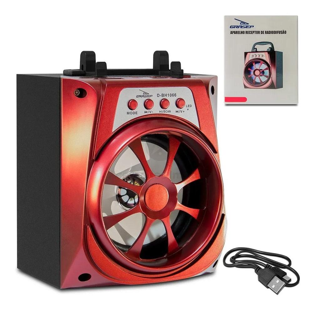 Caixa Bluetooth Grasep D-BH1066 10w com Fm/Sd/Usb Vermelha
