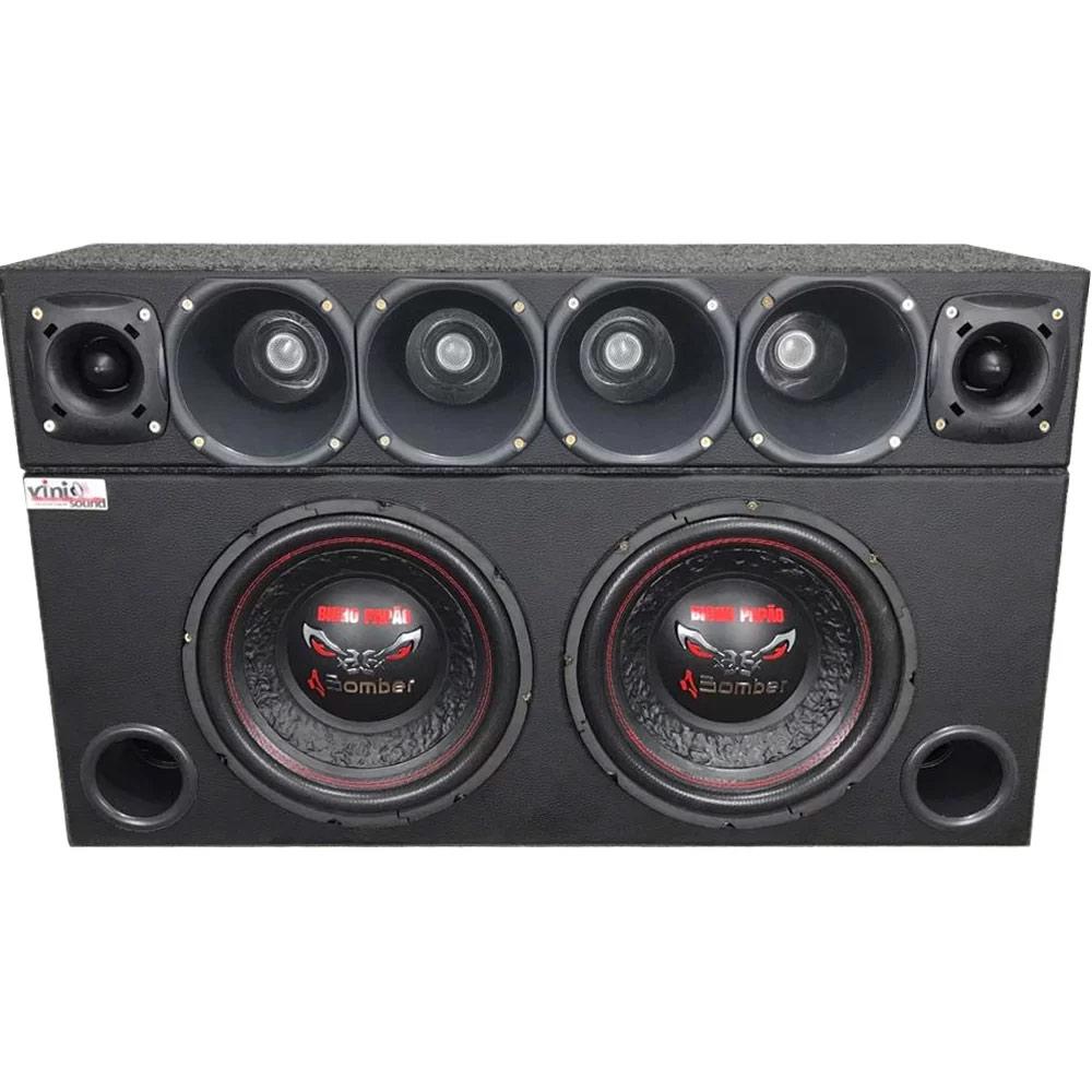 Caixa com 2 Bicho Papão 600RMS cada + Corneteira D200 JBL + ST200 JBL
