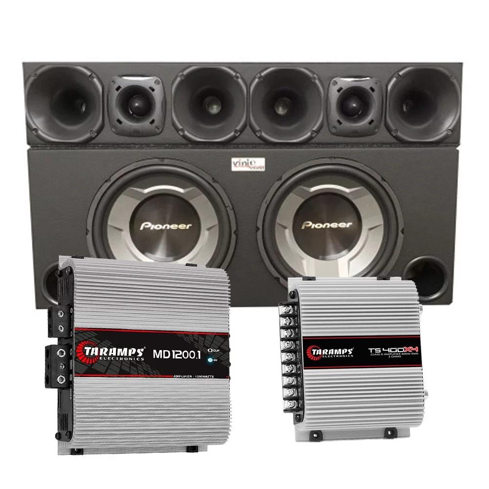 Caixa com 2 sub Pioneer TS-W3060BR 12 Pol + Corneteira JBL + Módulos Taramps