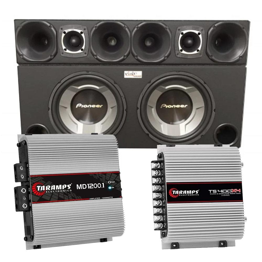 Caixa com 2 Sub Pioneer TS-W3060BR + Corneteira + Módulos Taramps