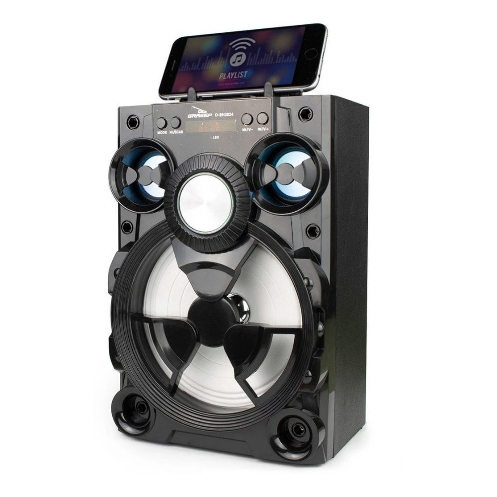Caixa de Som Bluetooth Fm/Usb/Led Grasep D-BH2024 Preta