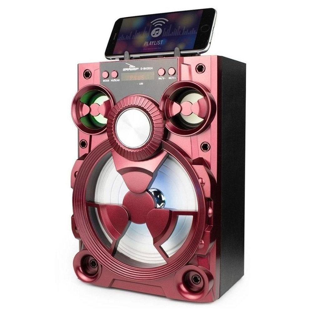 Caixa de Som Bluetooth Fm/Usb/Led Grasep D-BH2024 Vermelha