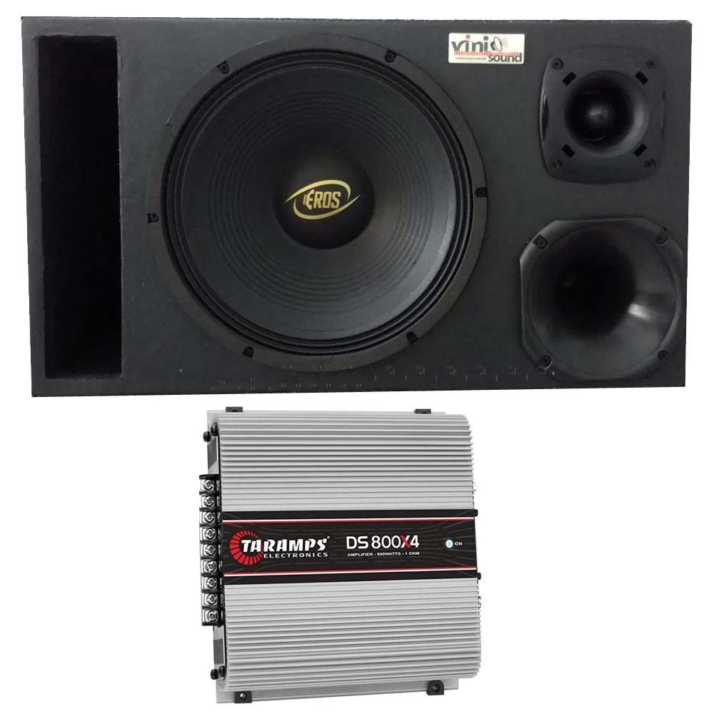 Caixa Eros E-450LC Black 450W 12 Pol + D200 + ST200 + Módulo Taramps
