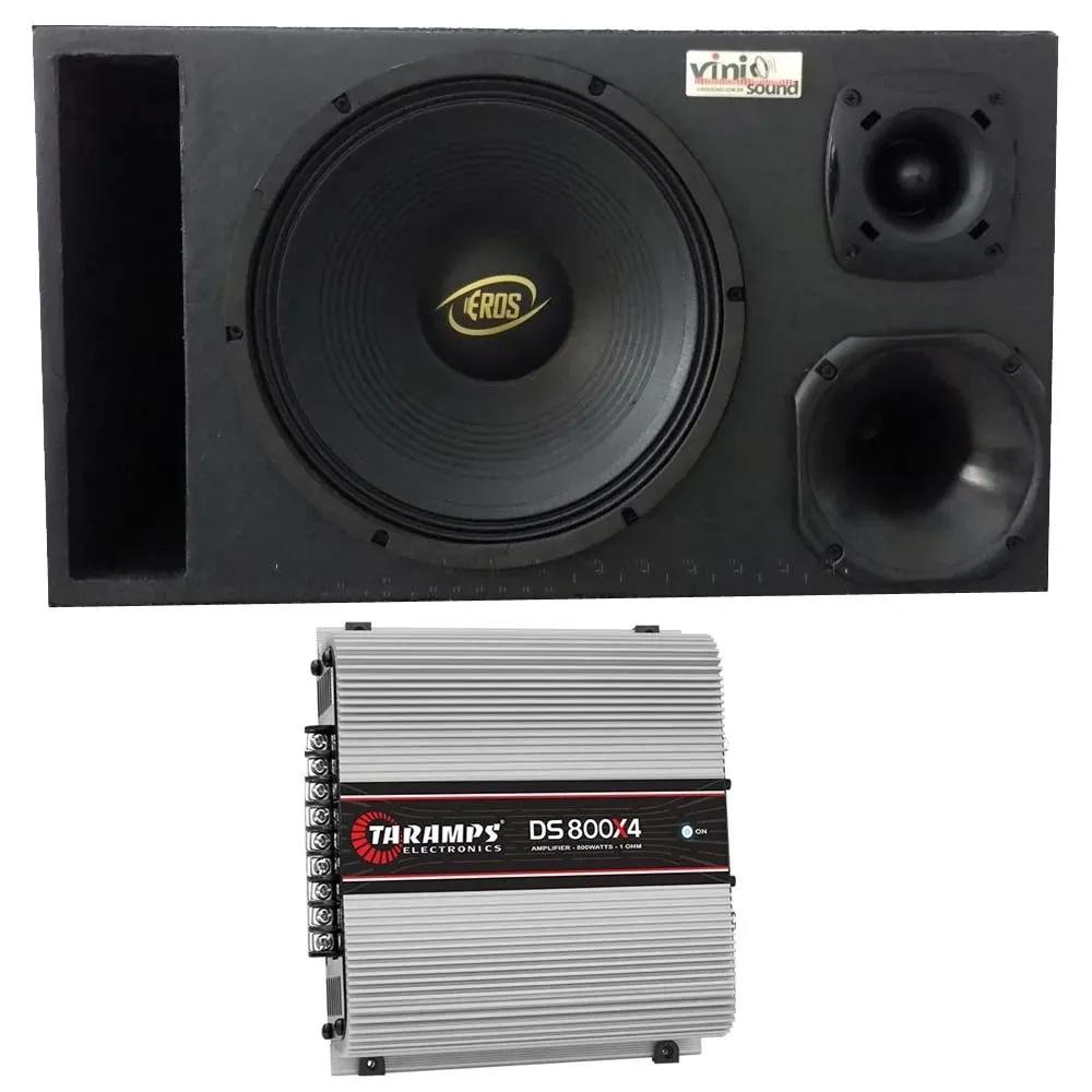 Caixa Eros E-450LC Black 450W 12 Pol + D250x + ST200 + Módulo Taramps