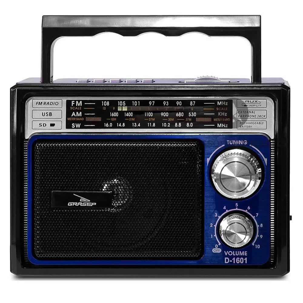 Caixinha de Som Retrô Rádio AM/FM SW USB SD Grasep D-1601 Azul