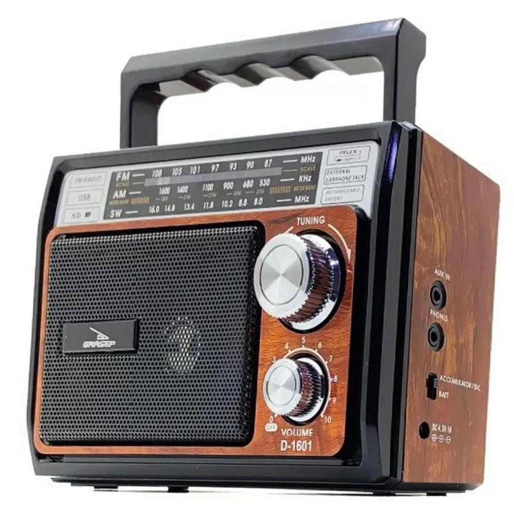 Caixinha de Som Retrô Rádio AM/FM SW USB SD Grasep D-1601 Madeira