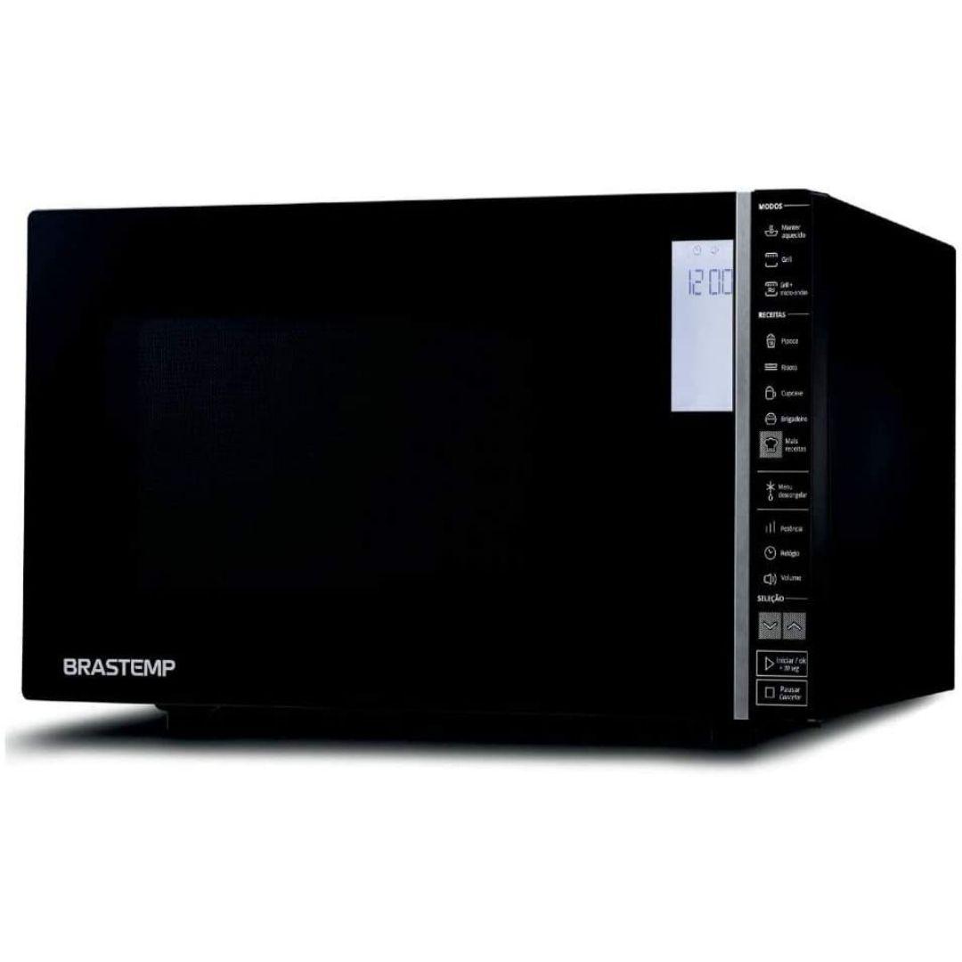 Forno De Micro-ondas Brastemp BMG45AR 32 Litros Espelhado Preto com Grill e Painel Integrado
