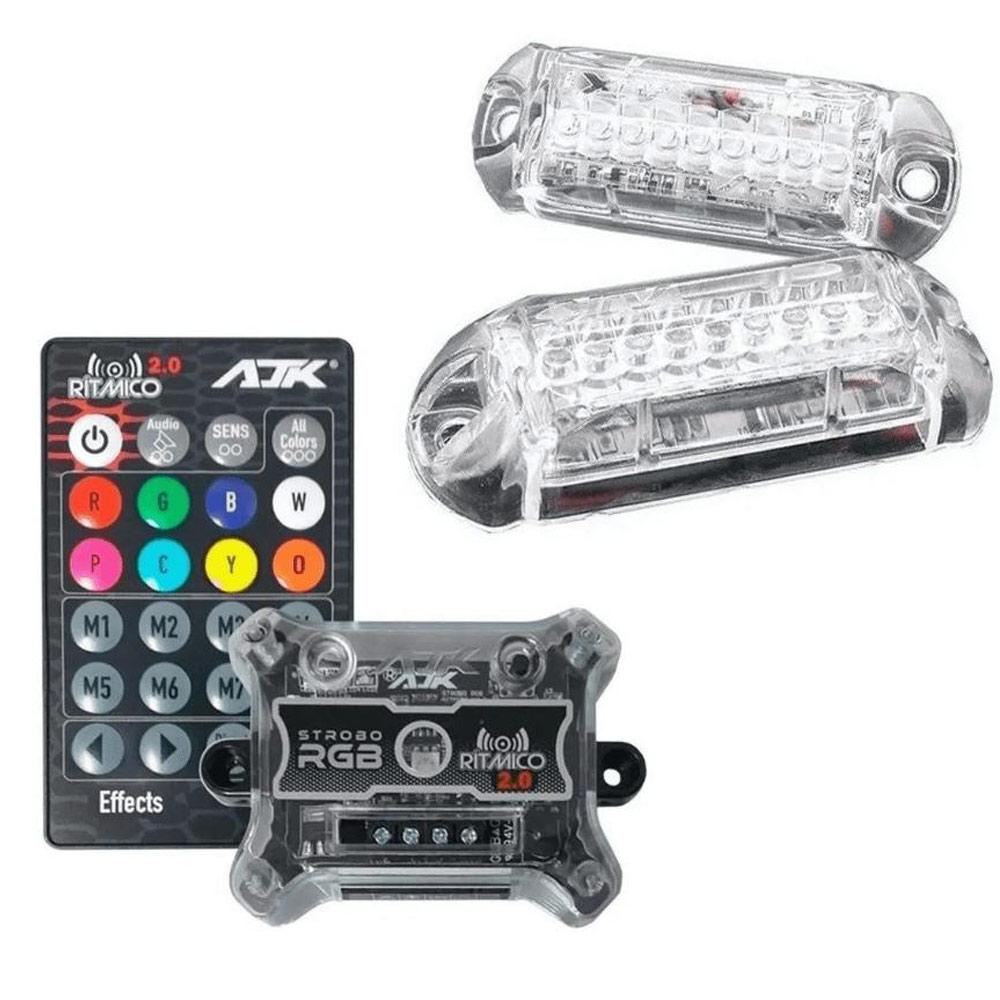 Kit Strobo RGB Rítmico 2.0 Com 2 Faróis 3W (2021) AJK