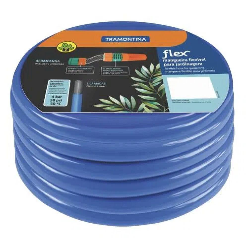 Mangueira Flex Tramontina Azul em PVC 2 Camadas 20 m com Engate Rosqueado e Esguicho