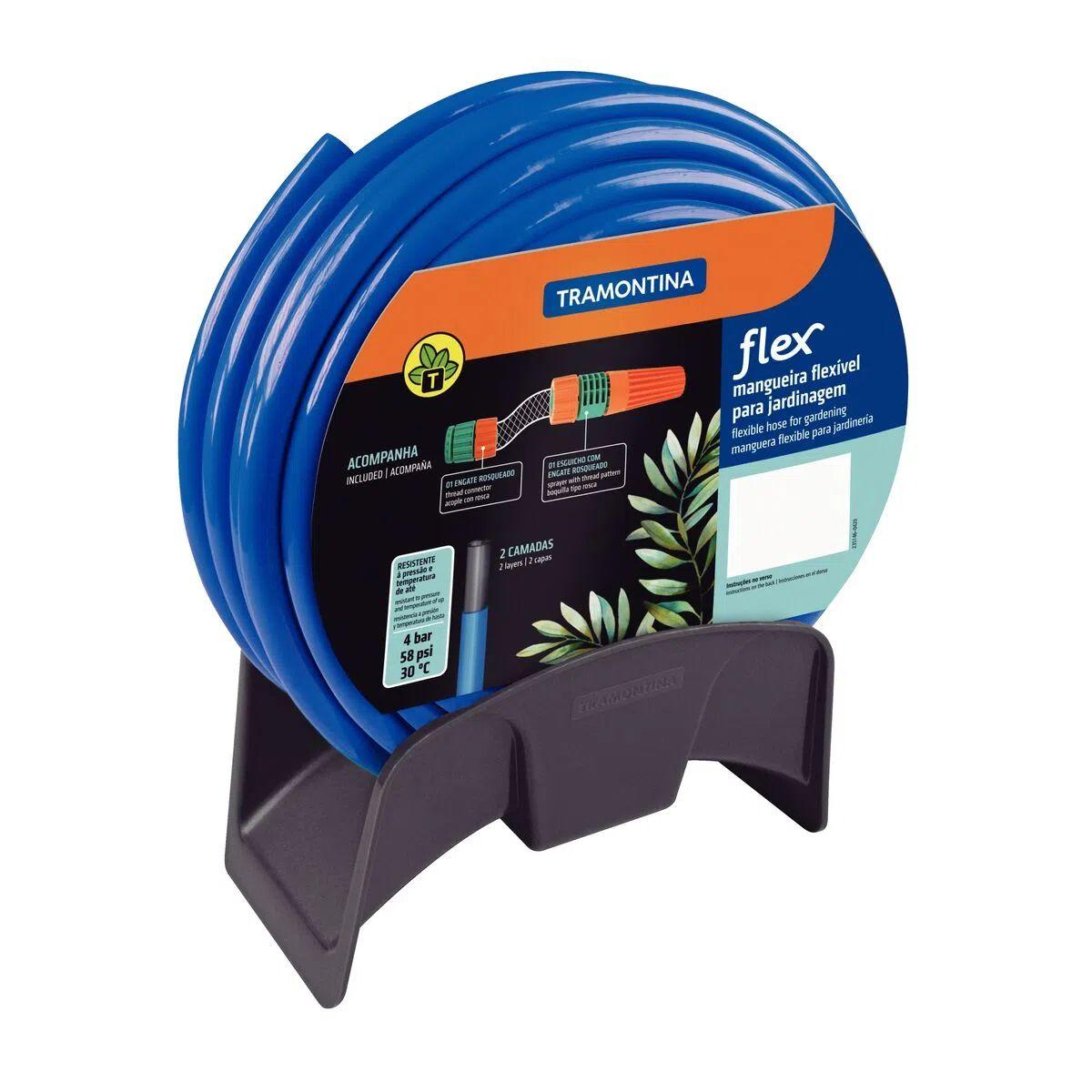 Mangueira Flex Tramontina Azul em PVC 2 Camadas 20 m com Engate Rosqueado, Esguicho e Suporte Mural