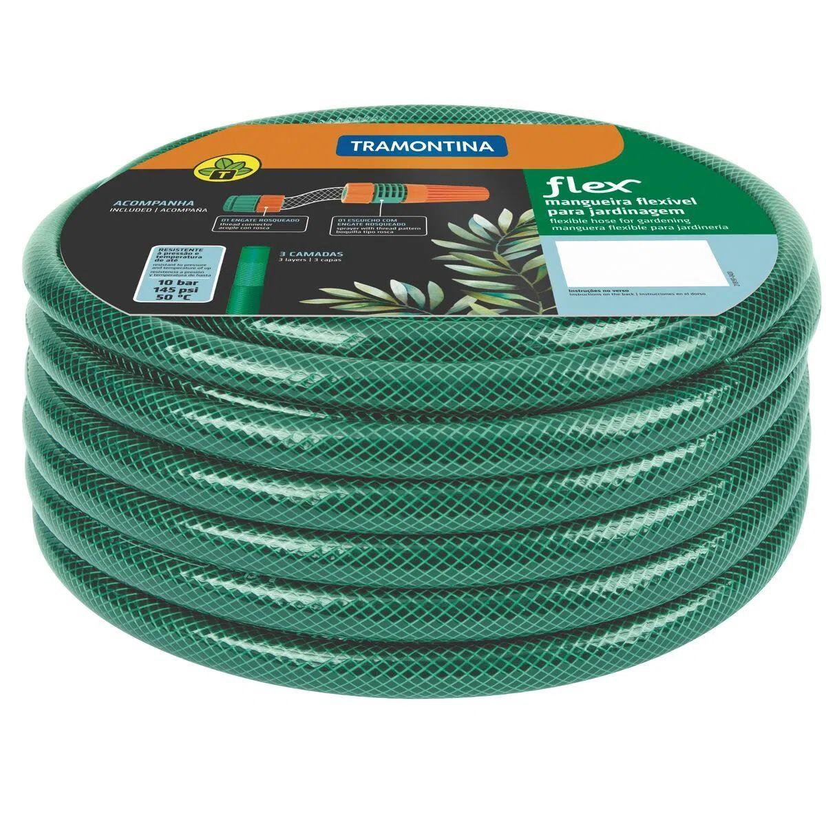 Mangueira Flex Tramontina Verde em PVC 3 Camadas 25 m com Engate Rosqueado e Esguicho