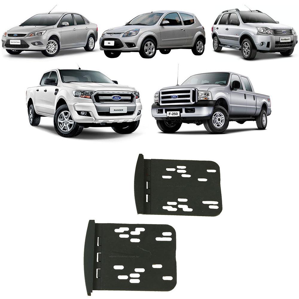 Moldura 2Din Ford Focus/Ká/Ecosport/Ranger/F-250 Preta com UV Protect
