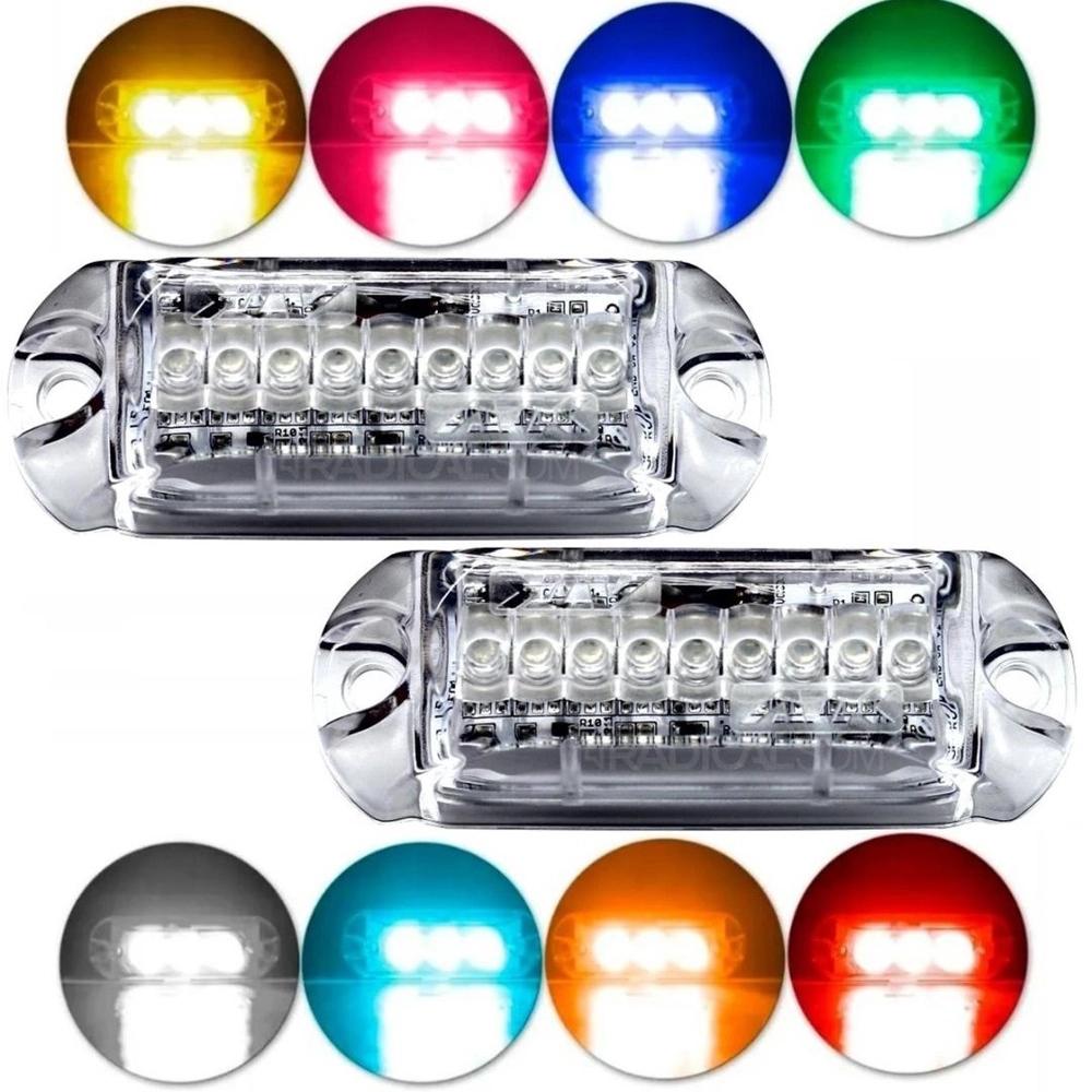 Par de Faróis Strobo RGB Digital AJK Endereçável 3 Leds 6w