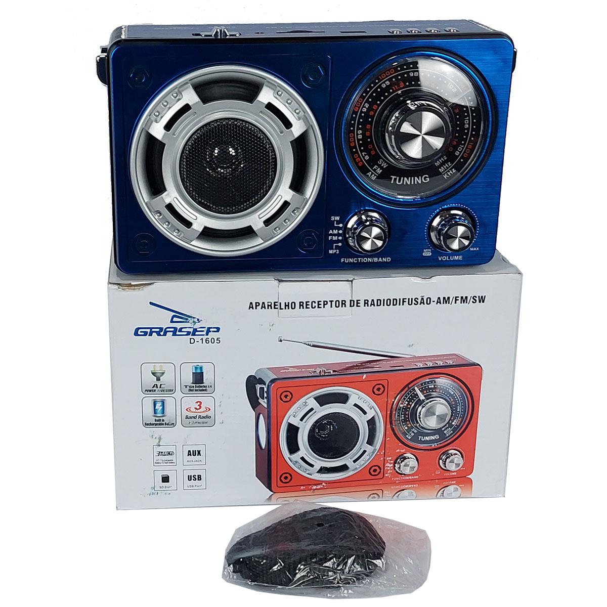 Rádio Portátil Recarregável Grasep AM FM USB AUX SD Bivolt - Azul