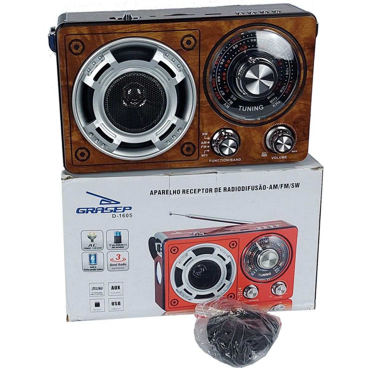Rádio Portátil Recarregável Grasep AM FM USB AUX SD Bivolt  - Madeira