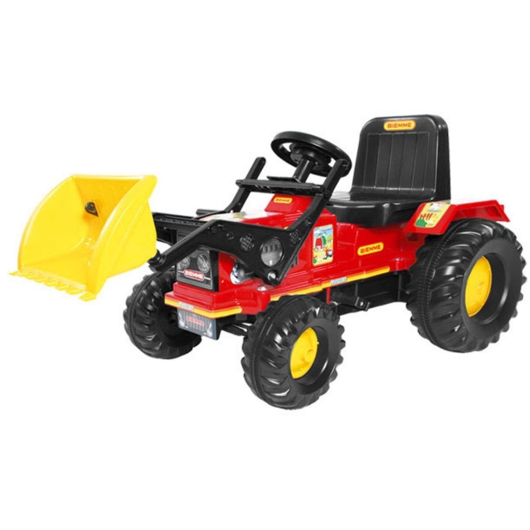 Trator Infantil Farmer Com Pedal E Pá Vermelho Biemme