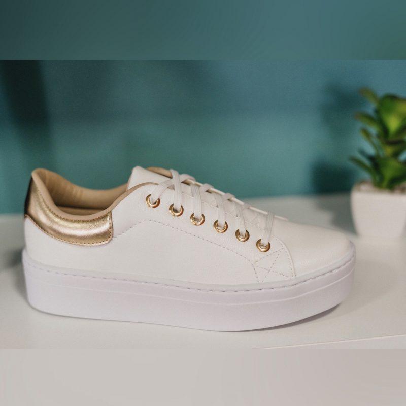 Tênis Branco Dourado