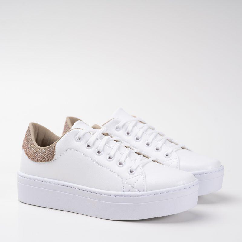 Tênis Branco Glitter Rosê
