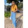 Blusa Lisa Gola Amarela com manguinha