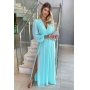 Vestido Ângela longo com manga decote V, saia fluida, deal para madrinhas de casamentos e convidadas