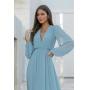 Vestido Ângela longo manga longa, saia fluida, ideal para madrinhas de casamentos e convidadas