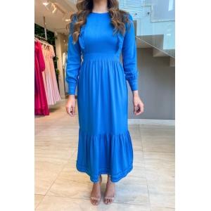 Vestido com manga longa Azul