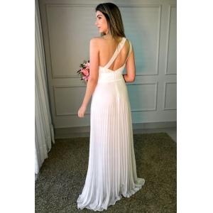 Vestido de noiva Off White. Para casamento diurno e noturno, civil, batizados, no campo ou na praia.
