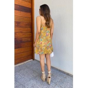 Vestido Floral - Mostarda