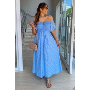 Vestido Lastex  Azul Xadrez