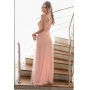 Vestido longo Rosa confeccionado em tule seco um ombro só com cinto solto e fenda lateral