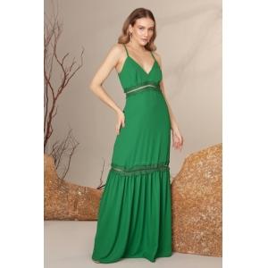 Vestido Longo Verde Bandeira