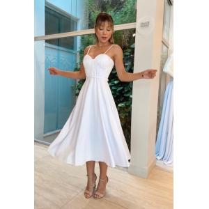 Vestido Longuete branco no crepe acetinado alça fina, cinto entrelado. Perfeito para casamento civil
