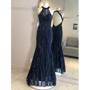 Vestido madrinha de casamento Azul Marinho. Para casamento noturno
