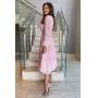 Vestido midi Rosé, manga longa, saia com camadas, decote em v. Ideal para ocasiões diurnas.