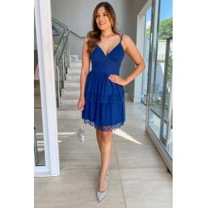 Vestido para aniversário de 15 anos estampa poá na cor Azul