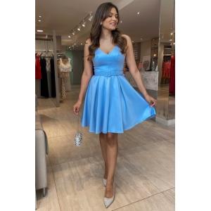 Vestido para aniversário de 15 anos na cor Azul Serenity