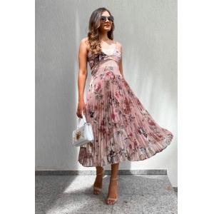 Vestido Plissado - Floral