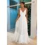 Vestido Tiana Noiva longo em chiffon, alças finas e renda Wonderland