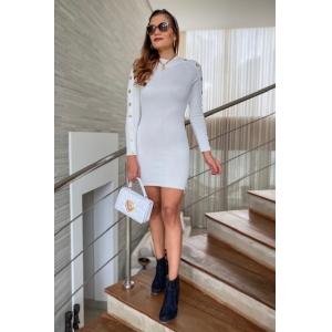 Vestido Tricô Botões - Off White