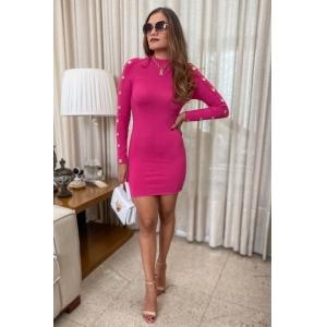 Vestido Tricô Botões -  Pink