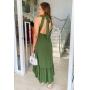 Vestido Verde cavado com amarração na nuca