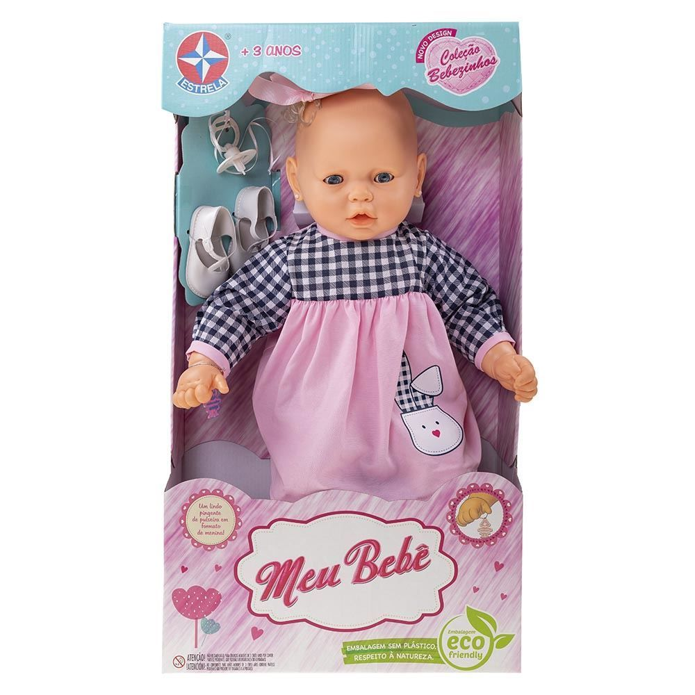 Boneca Meu Bebê-Vestido Lilás Estrela