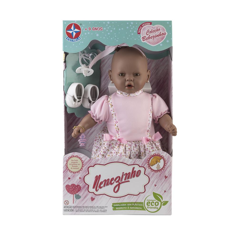 Boneca Nenezinho Negro-Vestido Rosa Estrela