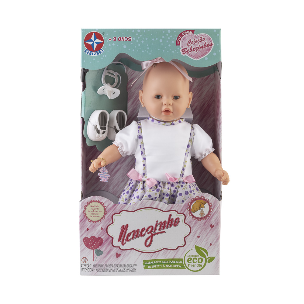Boneca Nenezinho Vestido Lilás e Quadriculado