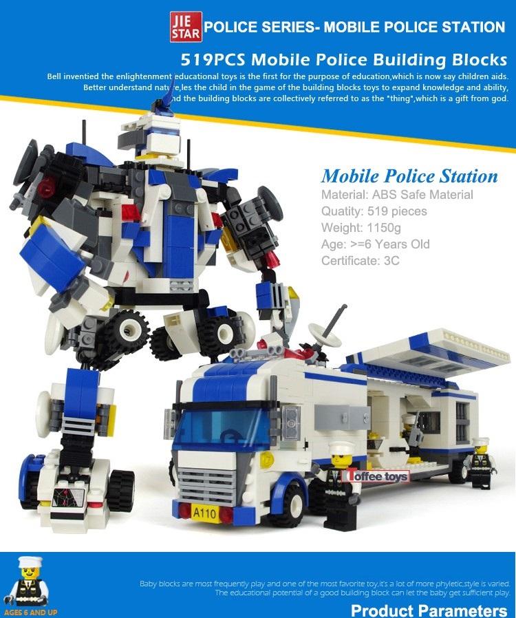 Brinquedo De Montar Caminhão - Robô Policial 2 em 1 519 Peças
