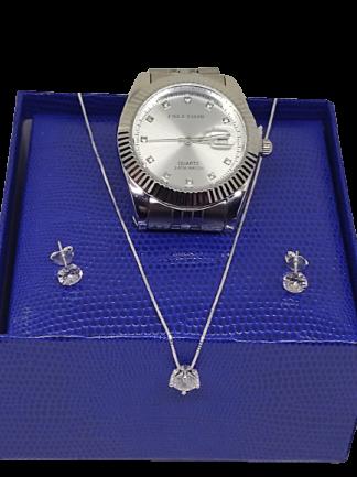 Kit Relógio Feminino Analógico Aço  + Corrente + Brinco Em prata.