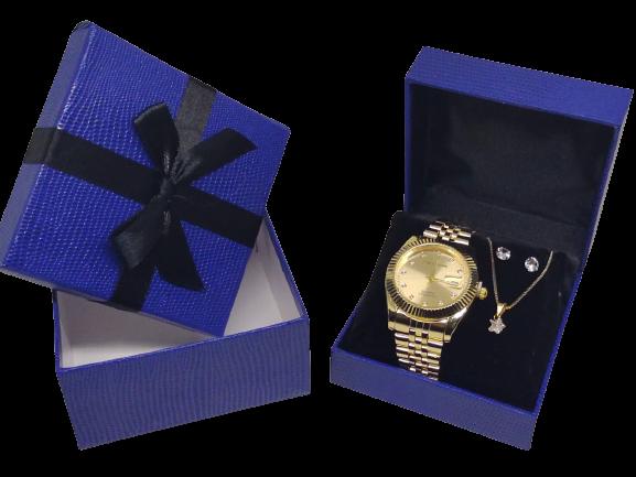 Kit Relógio Feminino Analógico + Corrente + Brinco Banhado a Ouro