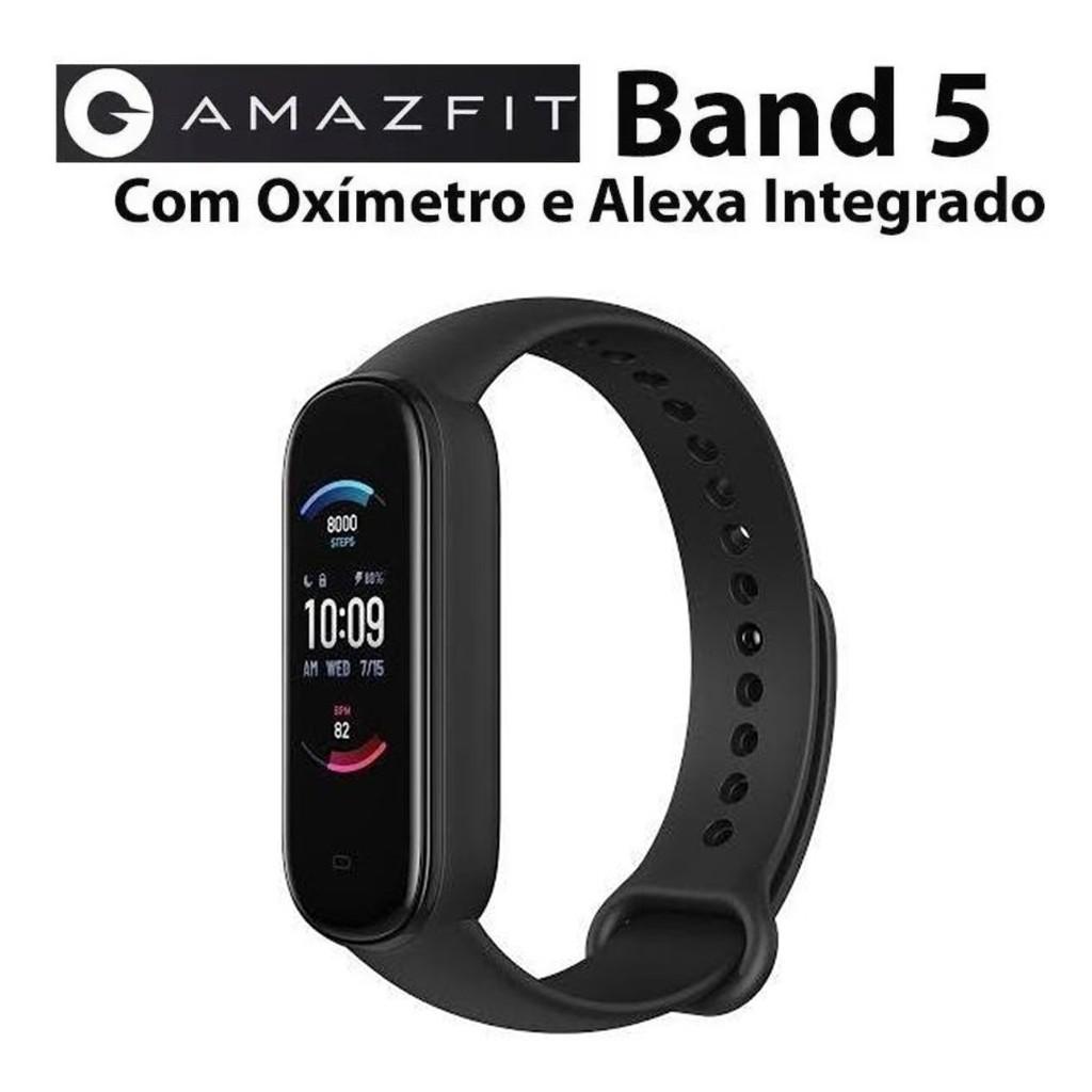 Smartwatch Amazfit Bands Band 5 1.1 Caixa De Policarbonato Pulseira Midnight Black De Tpu A2005