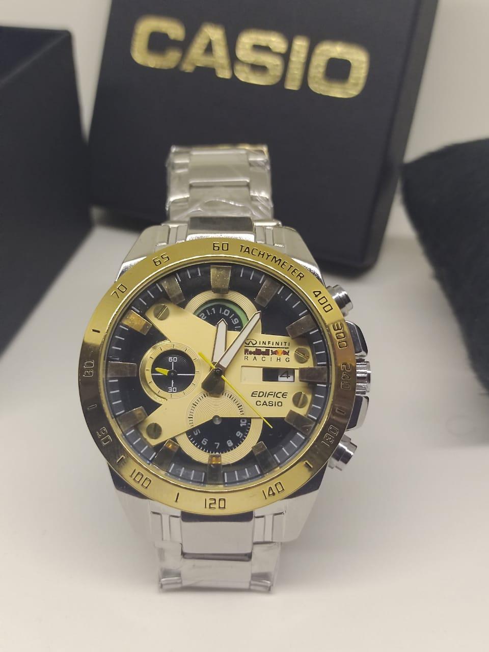 Relógio Casio Edifice  Red Bull Dourado e Aço Escovado 3687
